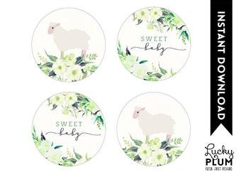 Lamb Cupcake Toppers / Lamb Round Labels / Sheep Cupcake Toppers / Sheep Round Labels / Woodland Flower Spring Lamb DIY Printable LB01