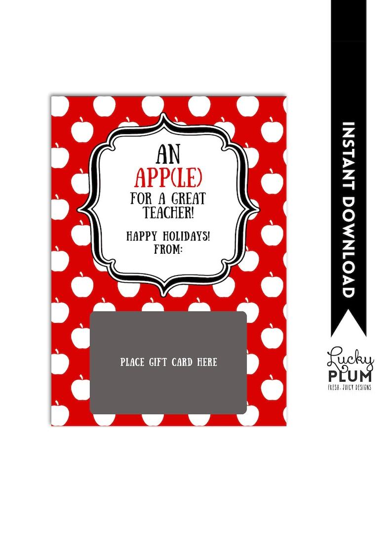 iTunes Gift Card Holder / Teacher Thank You Card / Apple Teacher Christmas  Gift Card Holder / An Apple for my Teacher / Christmas Gift Card