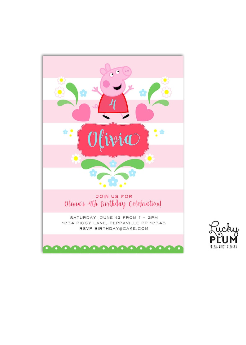 Peppa Pig Birthday Invitation Pink