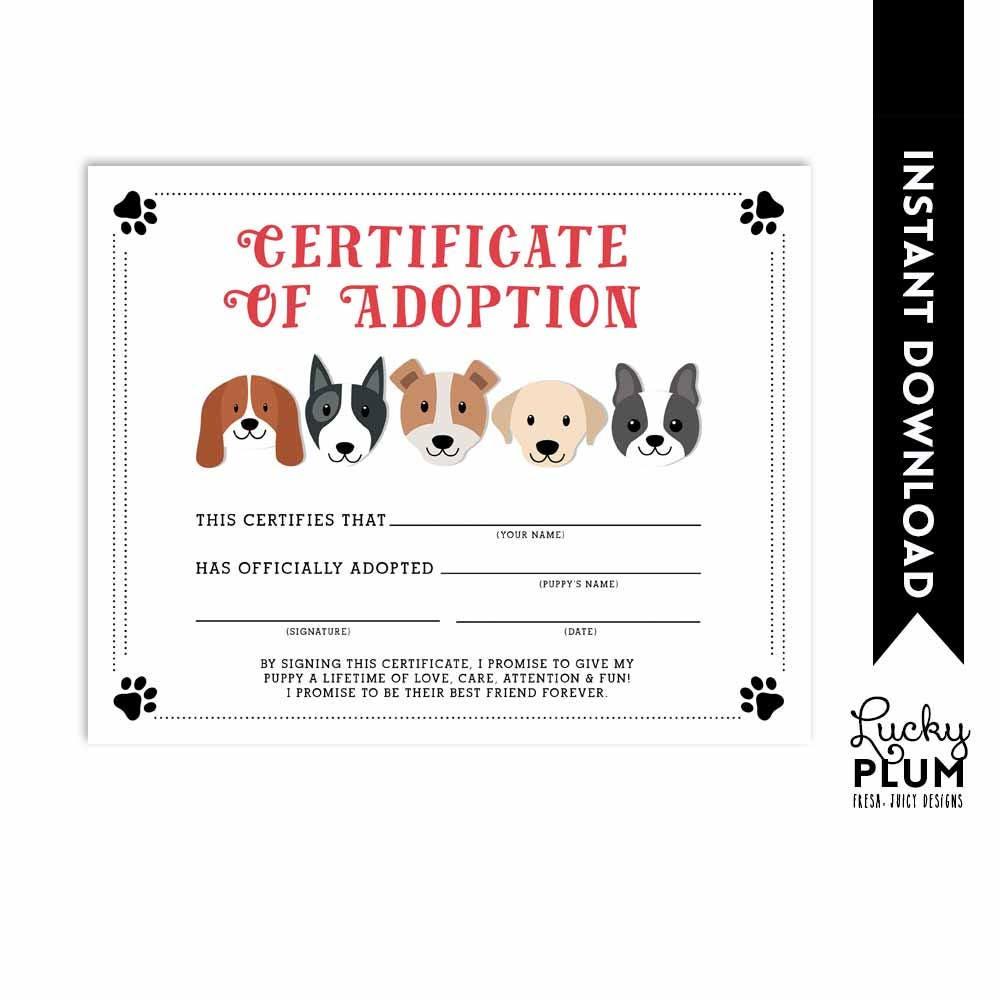 Dog Adoption Certificate Puppy Adoption Certificate Doggie Etsy