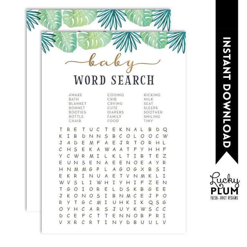 Safari Baby Word Search / Jungle Animal Word Search / Elephant image 0 ...