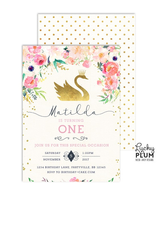 swan birthday invitation    swan princess invitation