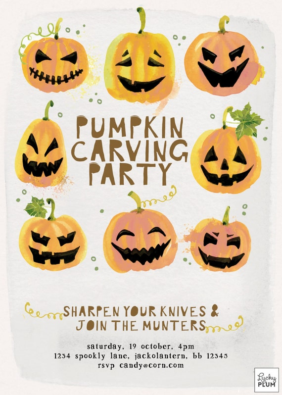 pumpkin carving invite halloween party invitation fall etsy