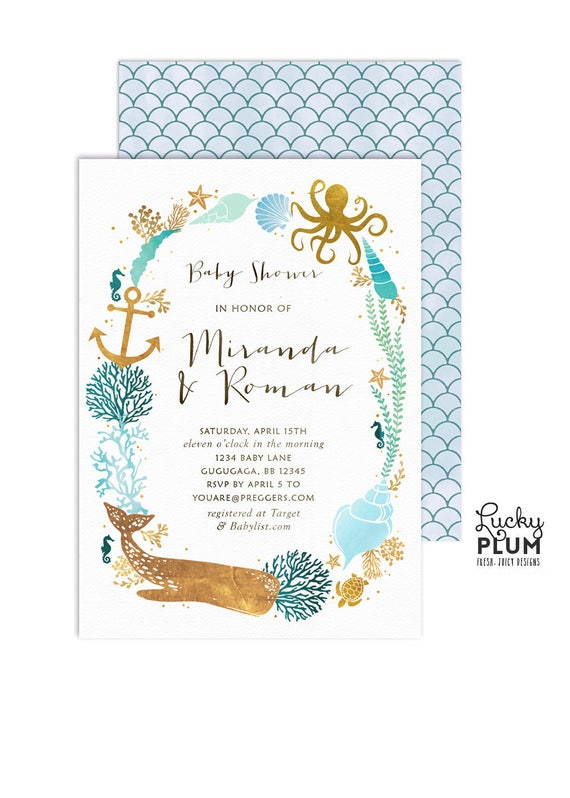 Ocean baby shower invitation couples coed baby shower etsy filmwisefo