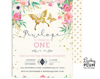 Butterfly Birthday Invitation / Pink and Gold First Birthday Invitation / First Birthday Invitation / Floral Birthday Invitation BY01
