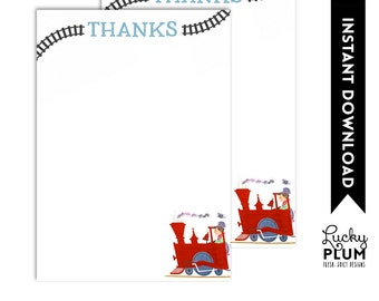 Train Birthday Thank You Card / Train Thank You Card / Train Thank You Card / Printable / DIY / *Digital File Printable* TN01