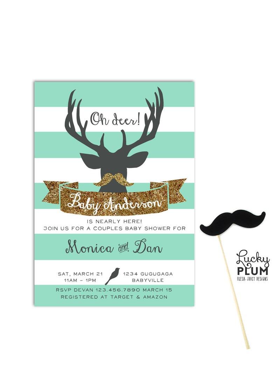 Deer Couple Baby Shower Invitation / Antler Baby Invite / image 0