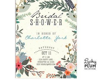 Rustic Bridal Shower Invitation / Floral Bridal Shower Invitation / Flower Bridal Shower Invitation / Bridal Shower Invitation / Digital