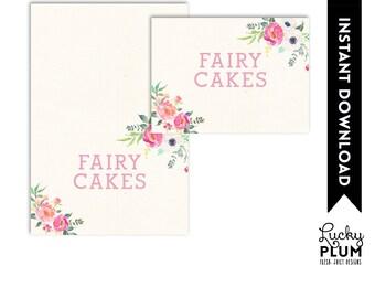 Fairy Food Card / Fairy Food Tent / Garden Food Card / Flower Food Card / Food Tent / Pixie Elves *Digital Printable FY01 SW01 RB01 DR01