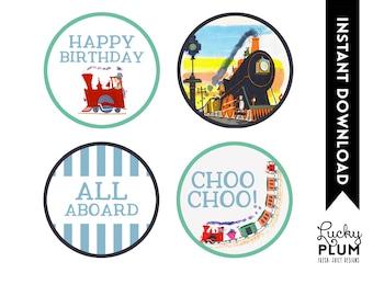 Train Cupcake Topper / Train Round Label / Train Playdoh Label / Printable / DIY / *Digital File* TN01