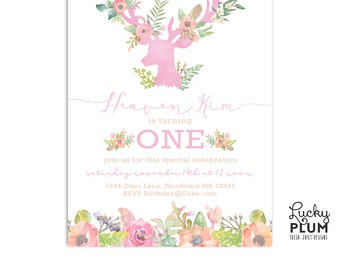 Deer Birthday Invitation / First Birthday Invite / Woodland Birthday Invite / Watercolor Flower Birthday Invite / Woodsy Birthday Invite