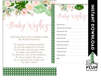 Tropical Baby Wishes / Luau Baby Wishes / Flower Baby Wishes / Pink Green Baby Wishes/ Boho Chic Botanical Baby Wishes TP01