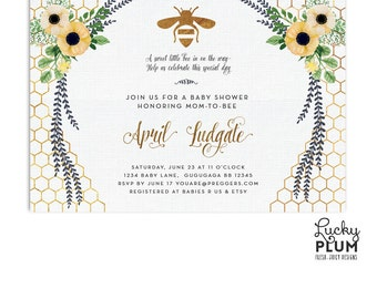 Bee Baby Shower Invitation / Sunflower Baby Shower Invitation / Flower Baby Shower Invitation / Spring Baby Shower / Gold Geometric BE01