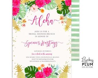 Tropical Bridal Shower Invitation / Luau Bridal Shower Invitation / Pineapple Bridal Shower Invitation / Floral Hawaiian Aloha *Digital