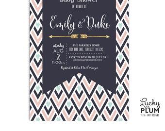 Boho Arrow Baby Shower Invite / Couples Coed Baby Shower Invitation / Bohemian Tribal Engagemnt Invite / Geometric Neutral Invite / Digital
