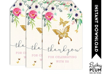 Butterfly Favor Tags / Garden Favor Tags / Flower Favor Tags / Pixie Elves Favor Tags / Woodland Favor Tags / Pink Gold Favor Tags BY01