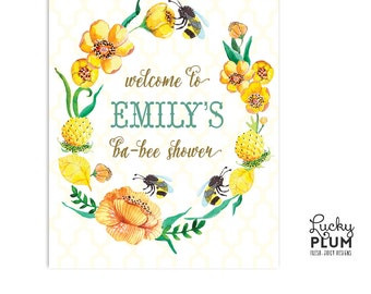 Bee Welcome Sign / Bumble Bee Welcome Sign/ Yellow Flower Welcome Sign / Spring Welcome Sign / Flower Welcome Sign / Garden Welcome Sign