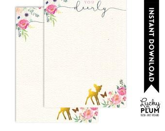 Deer Thank You Card / Woodland Thank You Card / Flower Thank You Card  / Garden Thank You Card / Butterfly Thank You Card / Bambi DR01