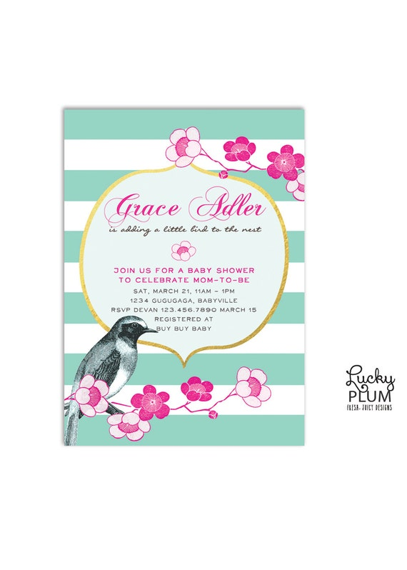 Bird flower baby shower invitation cherry blossom baby etsy image 0 filmwisefo