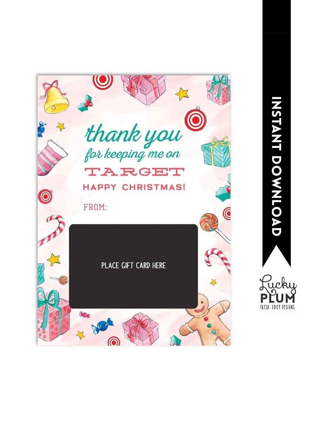 Target Gift Card Holder / Target Holiday Thank You Card /   Etsy