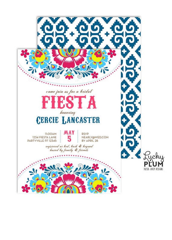 Fiesta Bridal Shower Invitation Bridal Shower Invitation Etsy