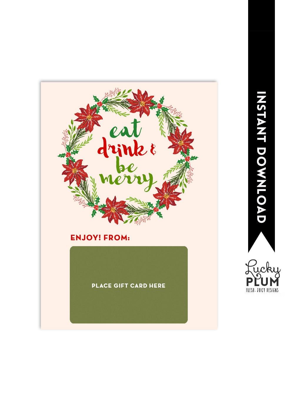 Restaurant Gift Card Holder / Eat Drink And Be Merry / Teacher | Etsy