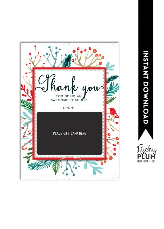Target Gift Card Holder Teacher Thank You Card Christmas Etsy