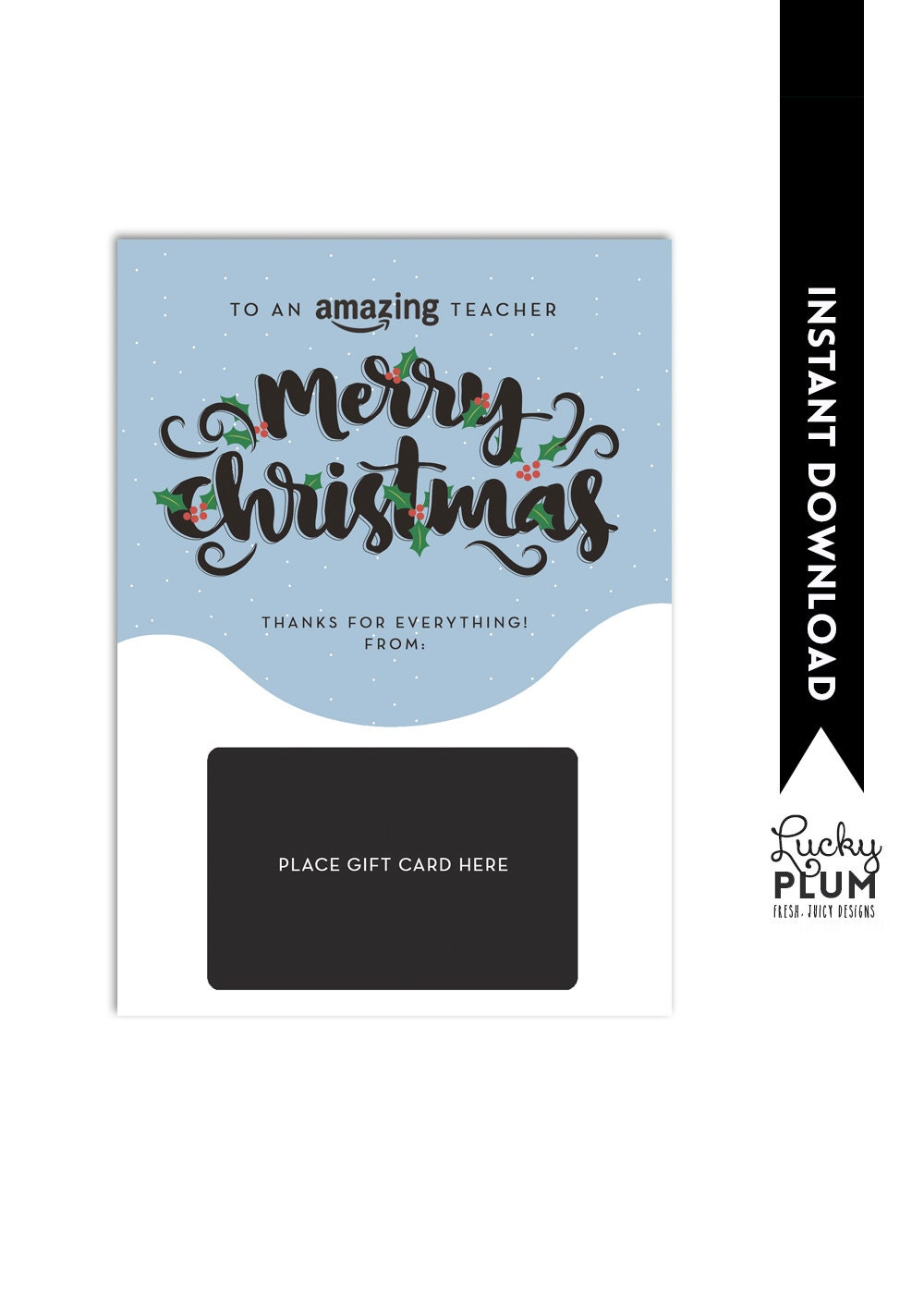Amazon Gift Card Holder / Teacher Thank You Card / Christmas | Etsy