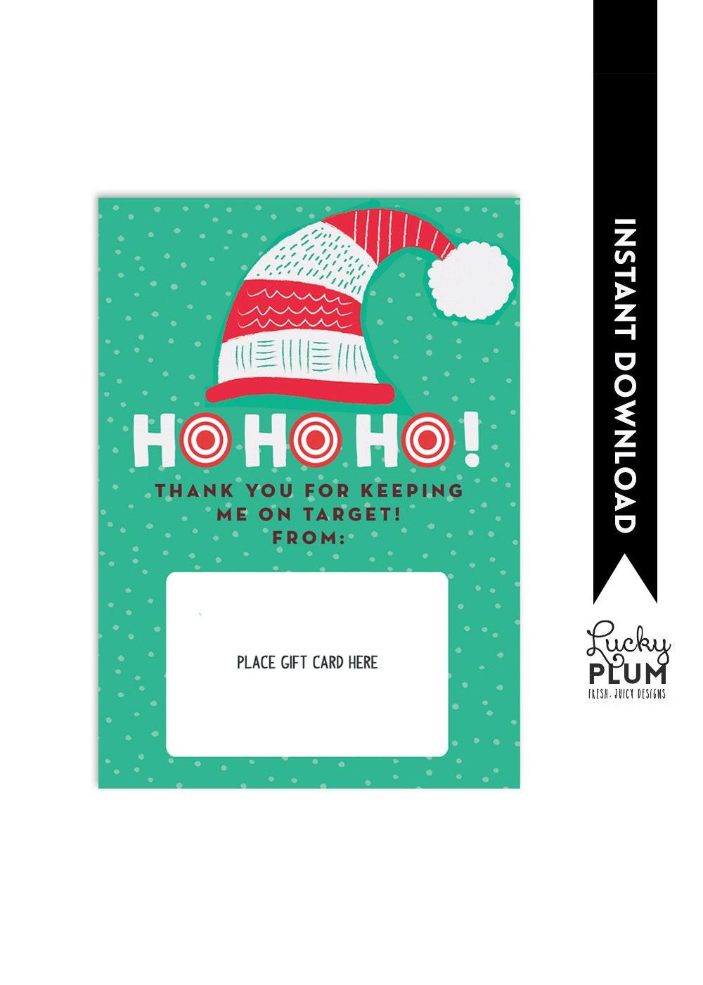 Target Gift Card Holder / Teacher Thank You Card / Christmas | Etsy