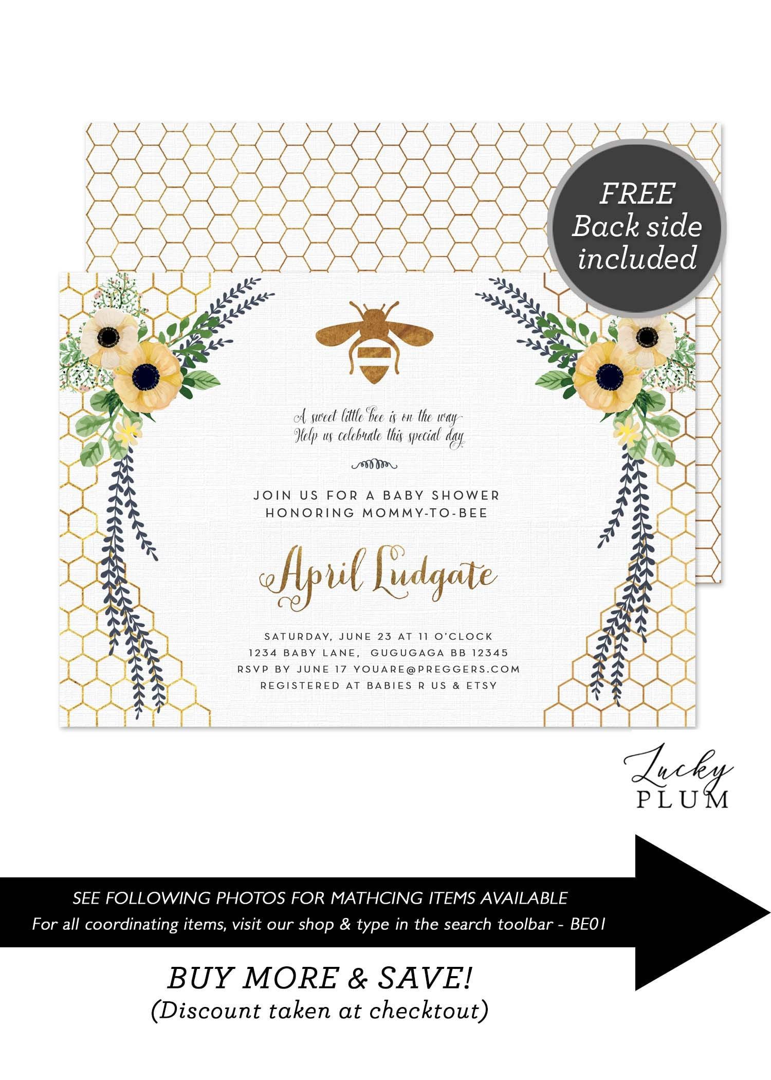 Bee Baby Shower Invitation Sunflower Baby Shower Invitation Etsy