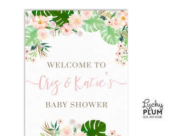 Tropical Welcome Sign / Luau Welcome Sign / Flower Welcome Sign / Pink Green Welcome Sign / Boho Chic Botanical Welcome Sign TP01