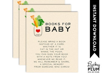 Locally Grown Baby Shower Book Card / Farmer's Market Book Card / Fruit Vegetable Book for Baby / Farmers Market Bring A Book