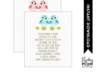Owl Twin Baby Book Card Insert / Woodland Book Card / Forest Animal Book Card / DIY Printable /  *Digital file*