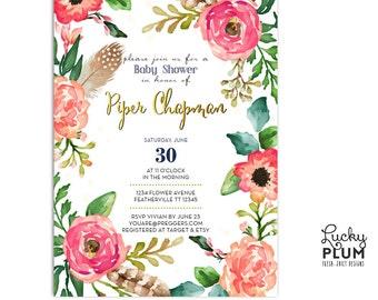 Flower Feather Baby Shower Invitation / Fall Baby Shower Invite / Couple Coed Baby Shower Invite / Tribal Invite / Twin Invite / Boho Invite