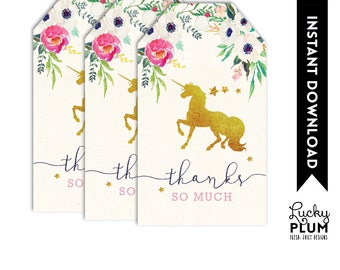 Unicorn  Favor Tags / Unicorn Thank You Tag / Horse Favor Tags / My Little Pony Favor Tags / Pink Gold Favor Tags / Flower Favor Tags UC01