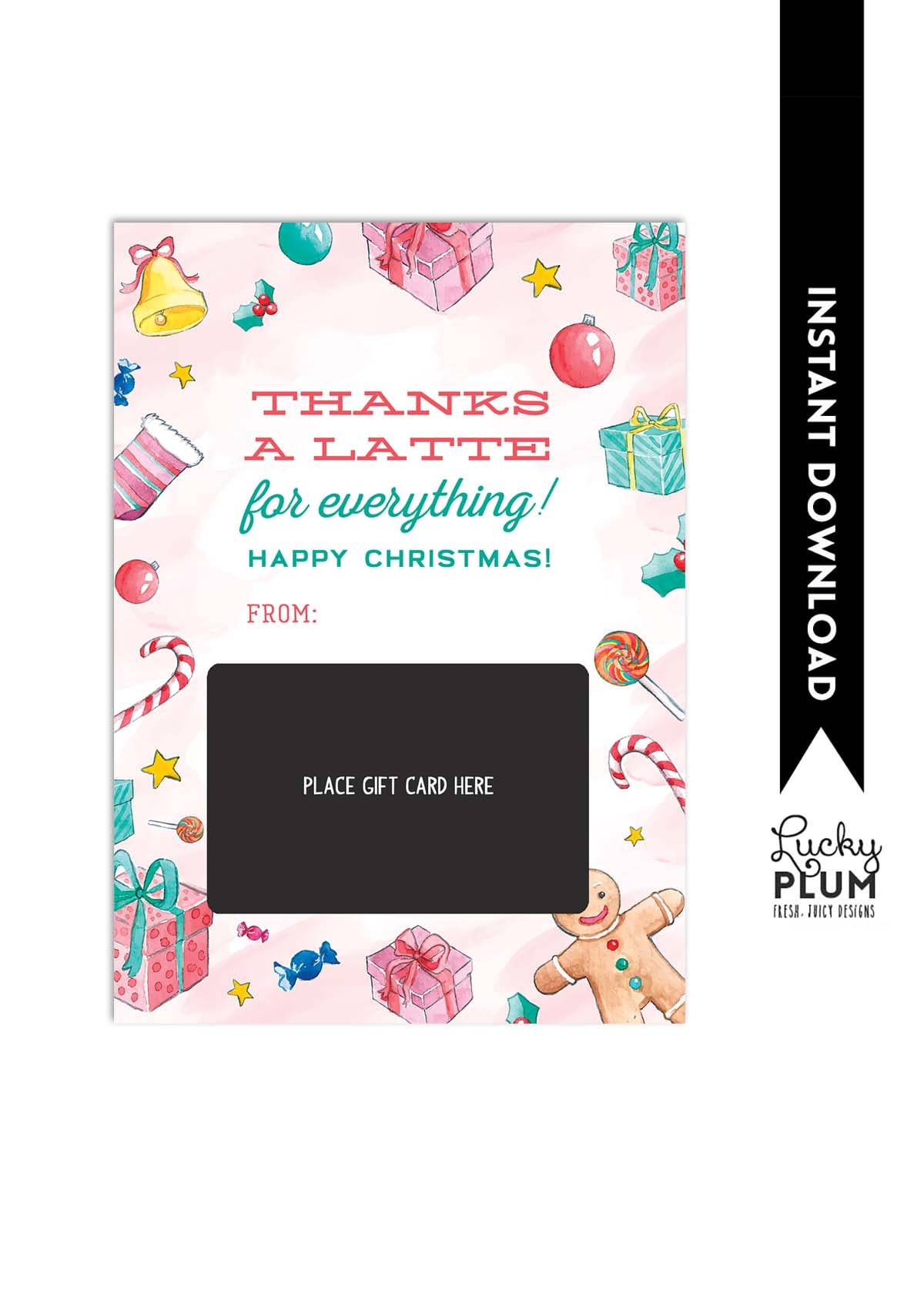 Thanks A Latte Gift Card Holder / Starbucks Teacher Thank You | Etsy