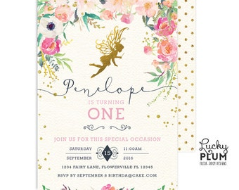 Fairy Birthday Invitation / Fairy Invitation / Woodland Birthday Invitation / First Birthday Invitation / Flower Pink Gold Pixie Elves FY01
