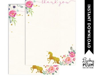 Unicorn Thank You Card / Horse Thank You Cards/ My Little Pony Thank You Card / Pink Gold Thank You Card / Flower Thank You Cards UC01