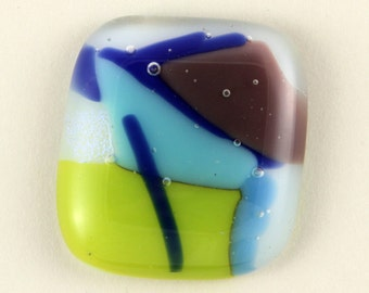 Lime Green and Blue Dichroic Glass cabochon - 34mm X 30mm
