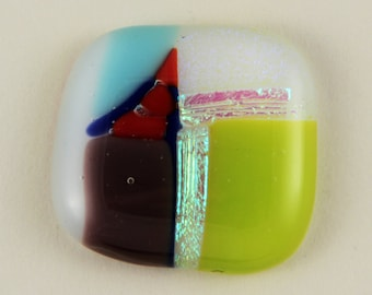 Lavendar, Red, Blue, and Lime Green Dichroic Glass Cabochon 32mm X 30mm