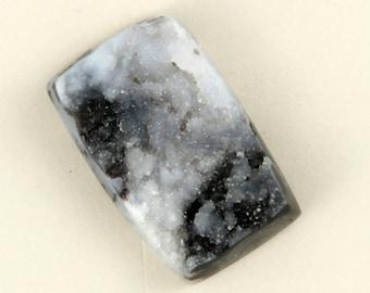 Natural Black and White Psilomelane druzy quartz - 18mmx28mm