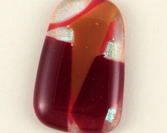 Vivid Red Dichroic Glass Cabochon - 28mm X 42mm