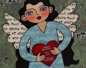 PEACE AND LOVE ANGEL HEART folk primitive collage art PRINT by LULU