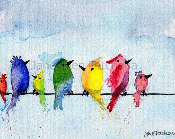 Birds On A Wire - Up In The Clouds Giclee Print