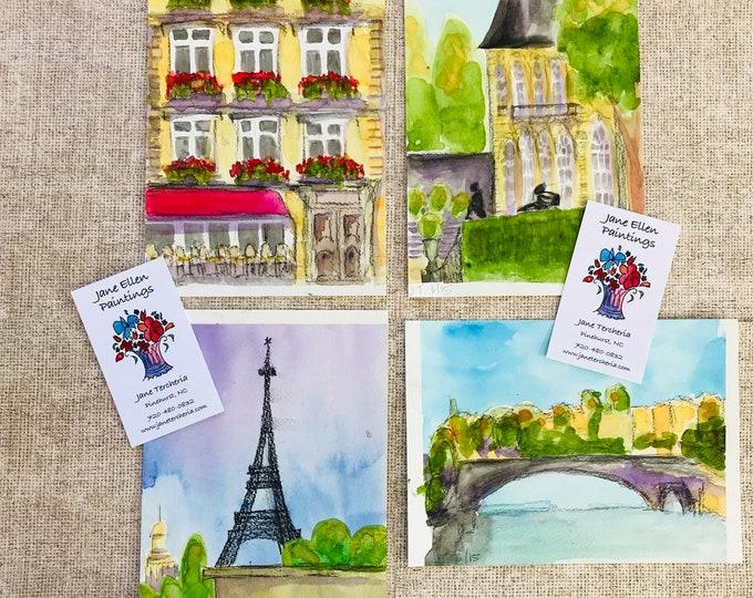 "Set of Four Original Watercolor Paintings - 5"" x 7"" each"