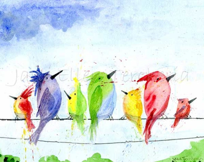 Birds On A Wire - Above The Trees Giclee Print