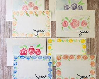 Custom Floral Watercolor Cards - 8 pack of cards