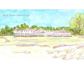 Golf Course - Pinehurst, NC - ORIGINAL watercolor painting