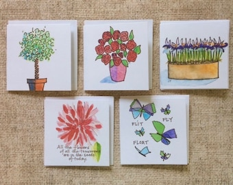 Square Gift Tags - Blooms