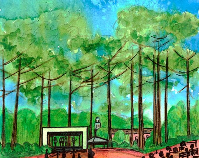 Village Green - Pinehurst, NC Giclee Print